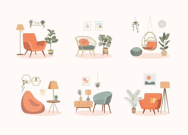 House interior objects isolated set.  home furniture. chairs and plants. cartoon vector illustration.