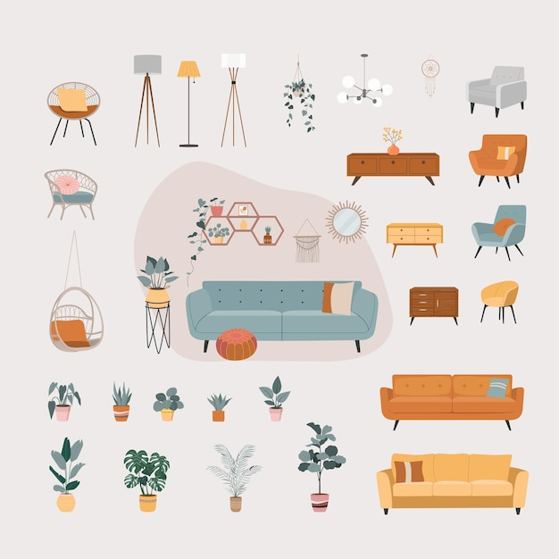 家の内部オブジェクト分離セット。家の家具。
