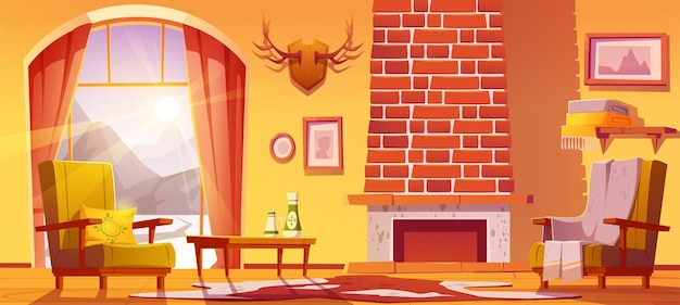 House interior with fireplace and mountains behind cartoon illustration.