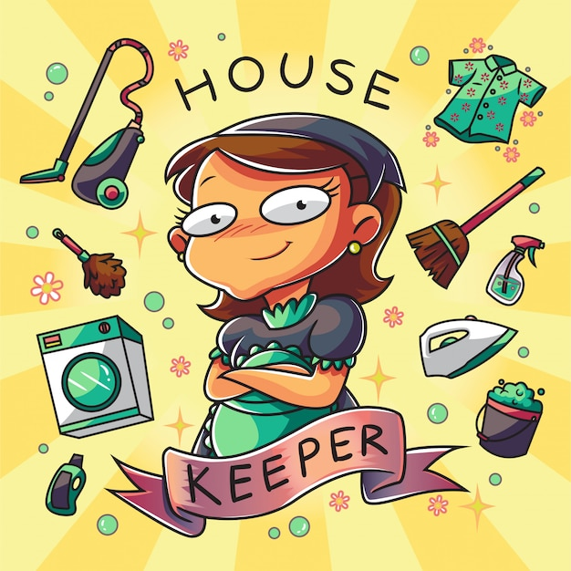 House keeper woman character