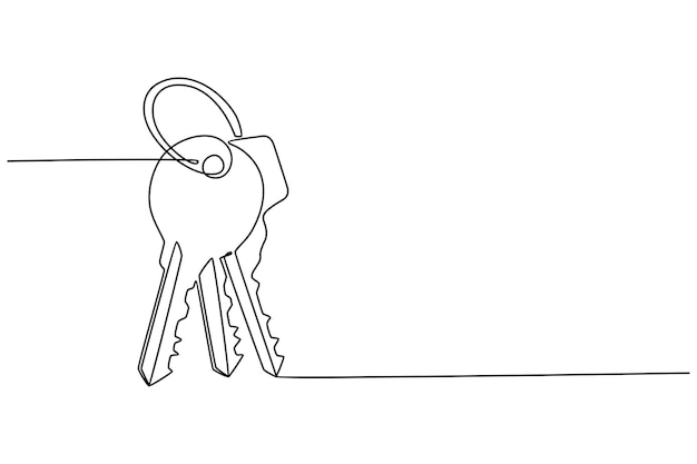 House key continuous line drawing vector illustration