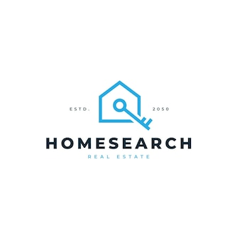 House and key search logo for real estate agent