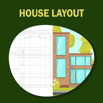 House layout flat vector banner template.
