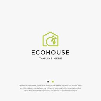 ハウスリーフエコハウスロゴアイコンデザインテンプレートベクトル