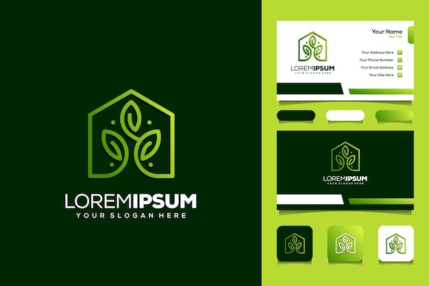 House and leaf monoline logo concept