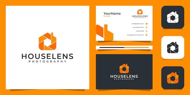 Logo della lente di casa e design del biglietto da visita