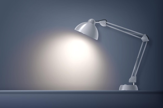 ランプが付いているデスクトップの作業場所の正面図が付いているテーブルの現実的な構成の家の照明ランプ