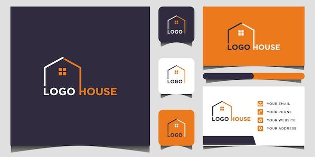 家のロゴと名刺テンプレートプレミアムベクトル