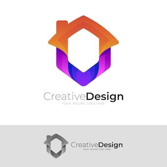 家のロゴと六角形のアイコンの組み合わせ