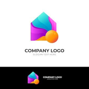 家のロゴと太陽のデザインテンプレート、3dカラフルなアイコン