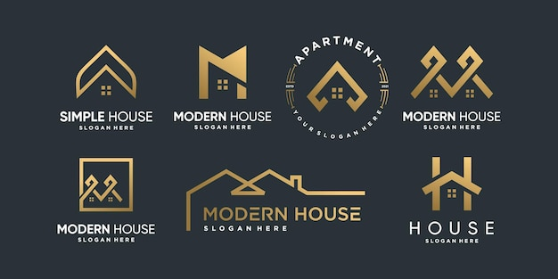 House logo collection with different creative element style premium vector