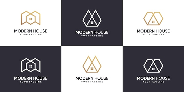 House logo collection with line concept premium vector