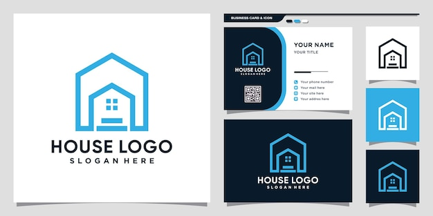 House logo design inspiration with line art style and business card design premium vector