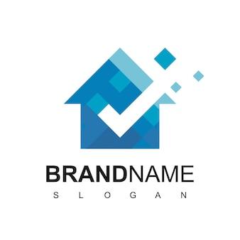 家のロゴデザインテンプレート。ピクセルカラーサイン。ユニバーサルベクトルアイコン