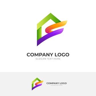Дизайн логотипа дома с 3d красочным стилем