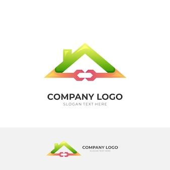 하우스 로고, 하우스 및 렌치, 3d 녹색 및 주황색 스타일의 조합 로고