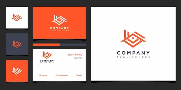 로고 및 명함 디자인을 위한 라인 아트 스타일 홈의 하우스 로고 premium vector