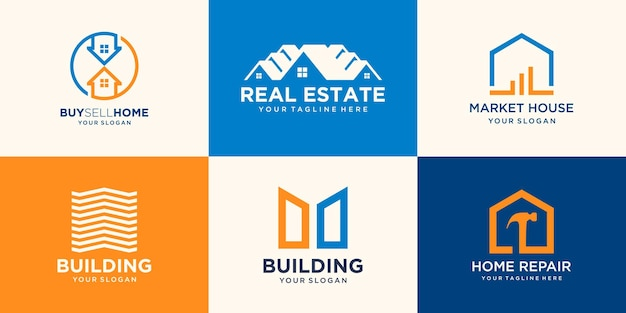 House logo set, creative home logo collection combined hammer element, abstract buildings logo set.