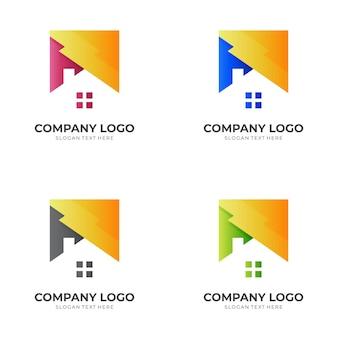 Шаблон логотипа дома с 3d красочным стилем