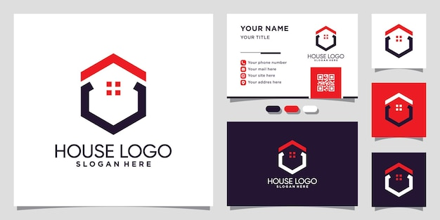 House logo template with unique hexagon concept and business card design premium vector