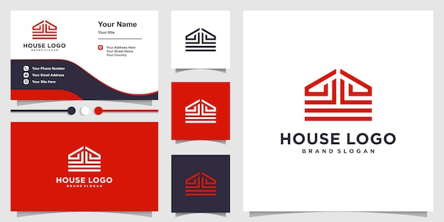 House logo with creative line concept and business card design template premium vector