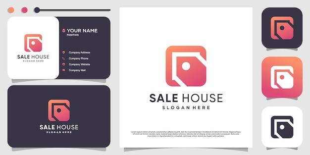 House logo with sale element concept premium vector