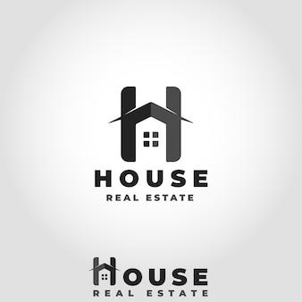 スタイリッシュなレターhコンセプトの家ロゴ