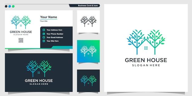 Логотип дома с концепцией дерева premium векторы