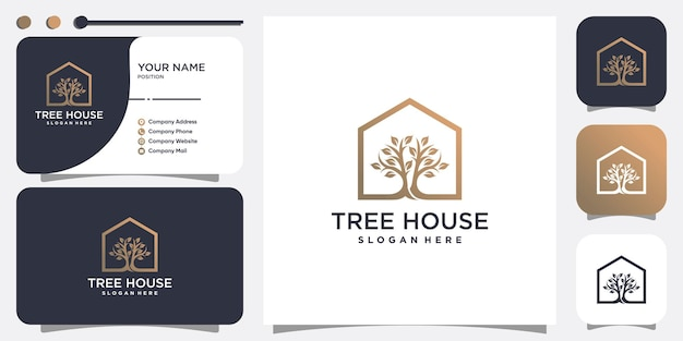 House logo with tree concept premium vector