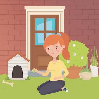 Casa per mascotte e ragazza disegno del fumetto