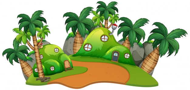 House mounds scene background