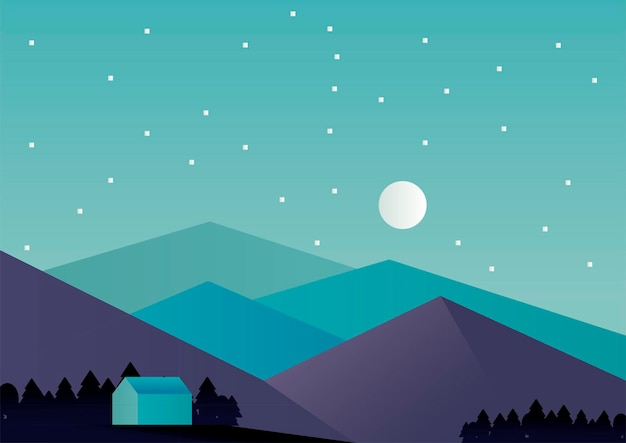 House and mountains in the night aventure landscape scene vector illustration design