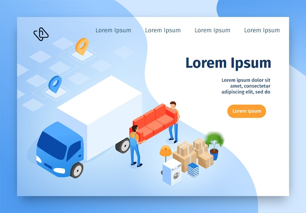 House moving company isometric vector website