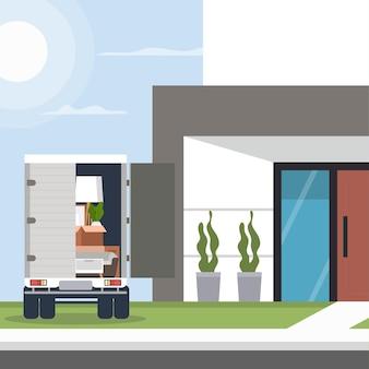 트럭으로 집 이동 개념 그림