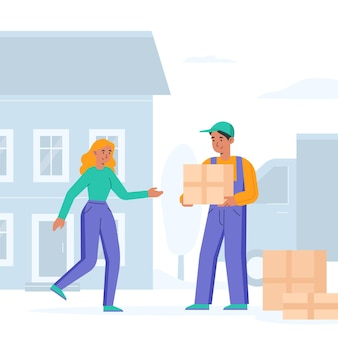 House moving concept with woman and man