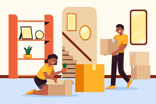 House moving couple wearing yellow shirt