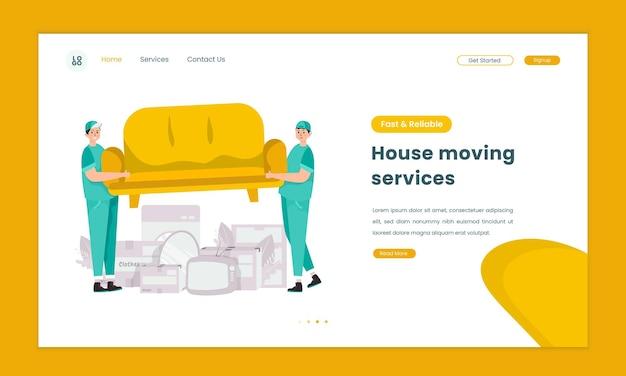 Иллюстрация услуг по переезду дома на концепции целевой страницы