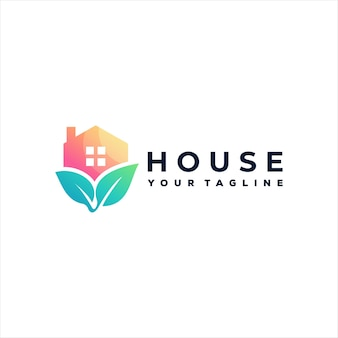 House nature gradient logo design
