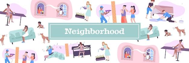 Illustrazione di vicini di casa con animali domestici e simboli di rumore per bambini piatti