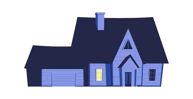Casa di notte, edificio con finestre luminose nell'oscurità, illustrazione del fumetto
