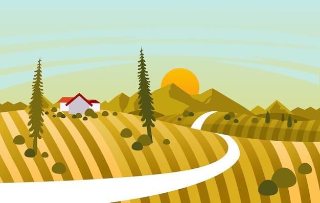 夕日の美しい風景と丘の上の家