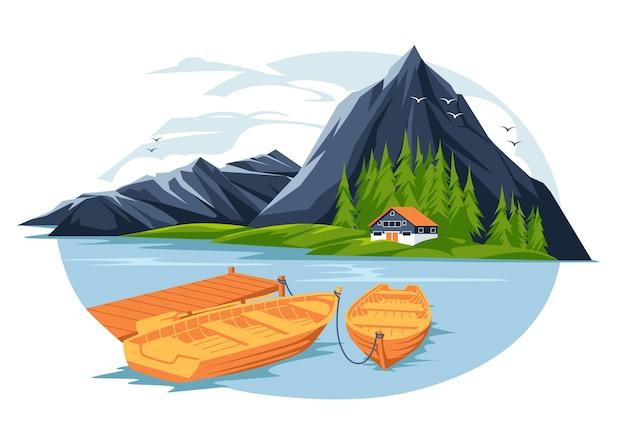 ボートとピルが平らな山の湖の島の家