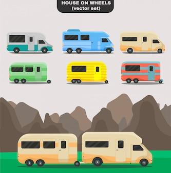 Дом на колесах. набор изолированных автомобилей разных цветов. винтажные автомобили, автобусы на колесах. модный плоский стиль для графического дизайна, логотипа, веб-сайта, социальных сетей, пользовательского интерфейса, мобильного приложения.