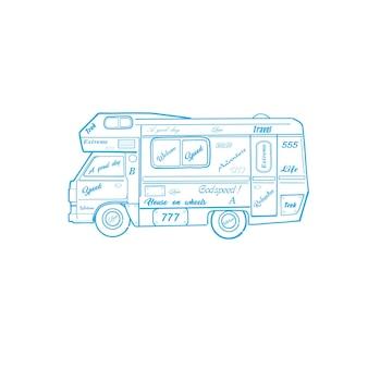 바퀴 스케치에 집입니다. 여행 자동차입니다.