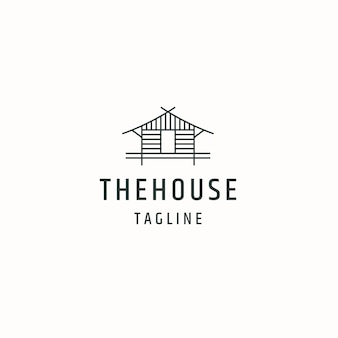 家または家の小屋のコテージのロゴアイコンデザインテンプレートフラットベクトルイラスト