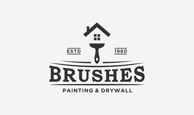 브러시와 집 요소가 있는 집 화가 로고 디자인. 프리미엄 벡터