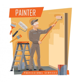 House painter with work tools, painting service