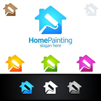 House painting logo with paint brush and home concept