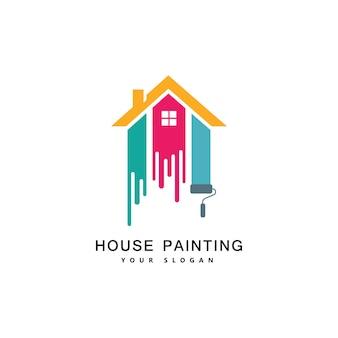 집 그림 서비스, 장식 및 수리 여러 가지 빛깔의 아이콘입니다. 벡터 로고, 라벨, 엠블럼 디자인입니다. 가정 장식, 건물, 주택 건설 및 얼룩에 대한 개념.