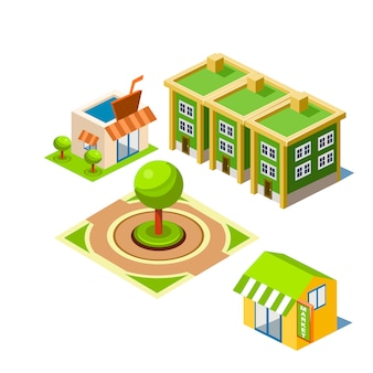 House and park building illustration